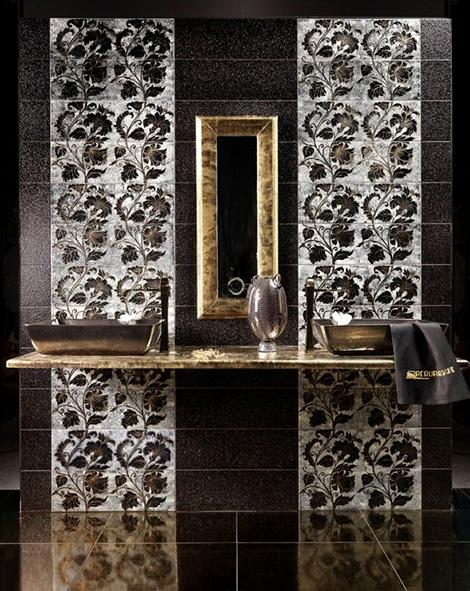 Глазурованная плитка в золоте и серебре  Acquario