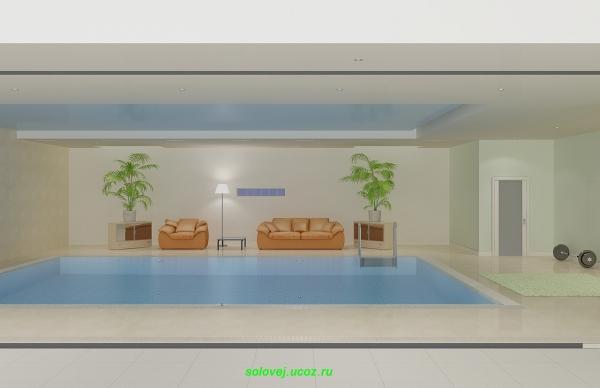 Комната с бассейном в доме.
