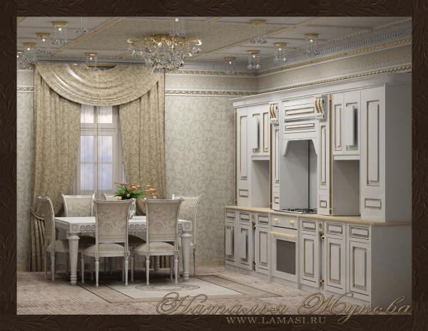 дизайн интерьера кухни в классическом стиле
