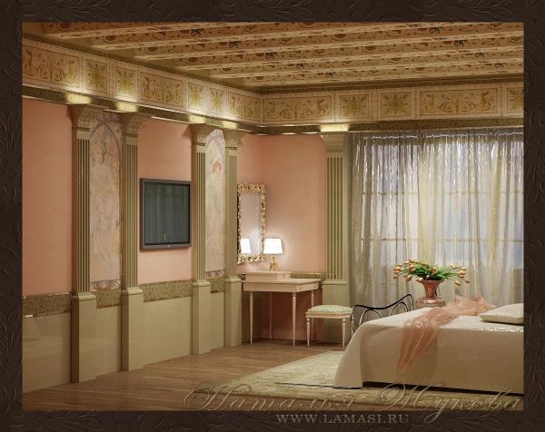 дизайн интерьера спальни в неоклассическом стиле