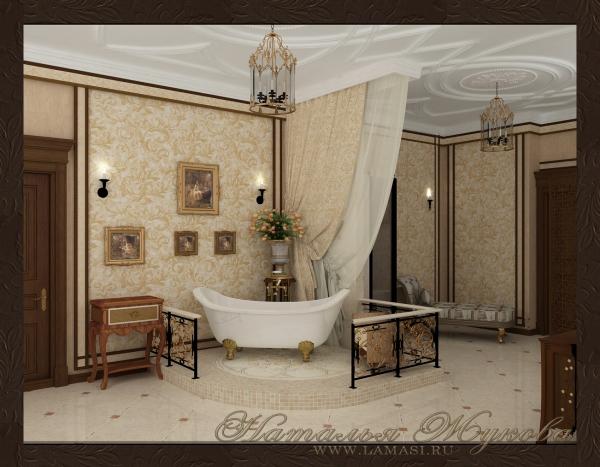 дизайн интерьера санузла в классическом стиле