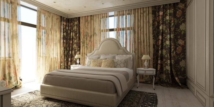 Спальная комната в английском стиле на втором этаже