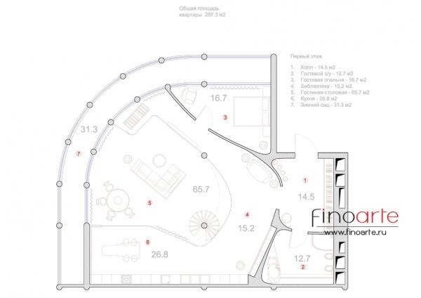 План расстановки мебели (этаж 1)