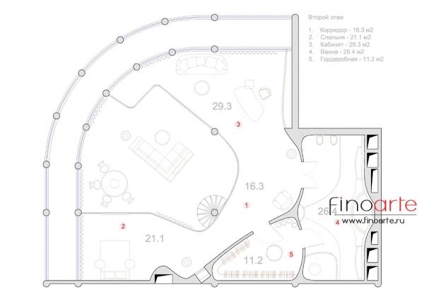 План расстановки мебели (этаж 2)