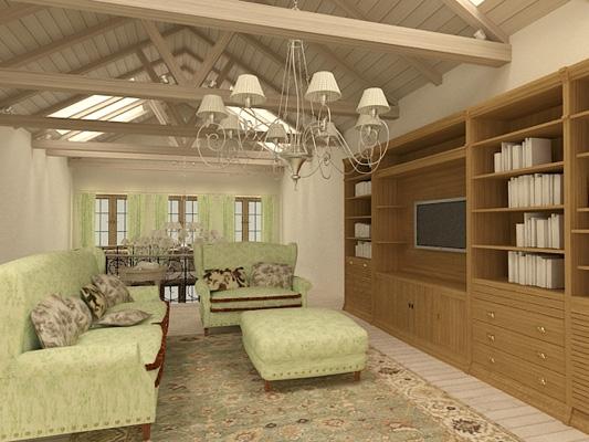 Интерьер комнаты на мансарде
