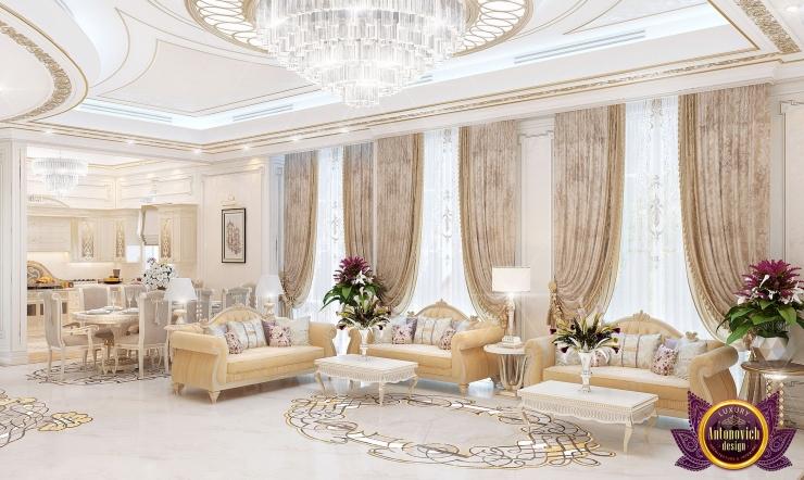 Персиковое настроение в интерьере гостиной от Katrina Antonovich